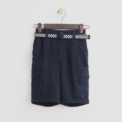 Hang Ten -童裝 - 帥氣口袋附腰帶短褲 - 藍