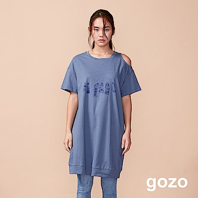 gozo 水彩造型印花削肩長版上衣(三色)