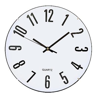 KINYO 12吋拱型立體字靜音掛鐘(顏色隨機)