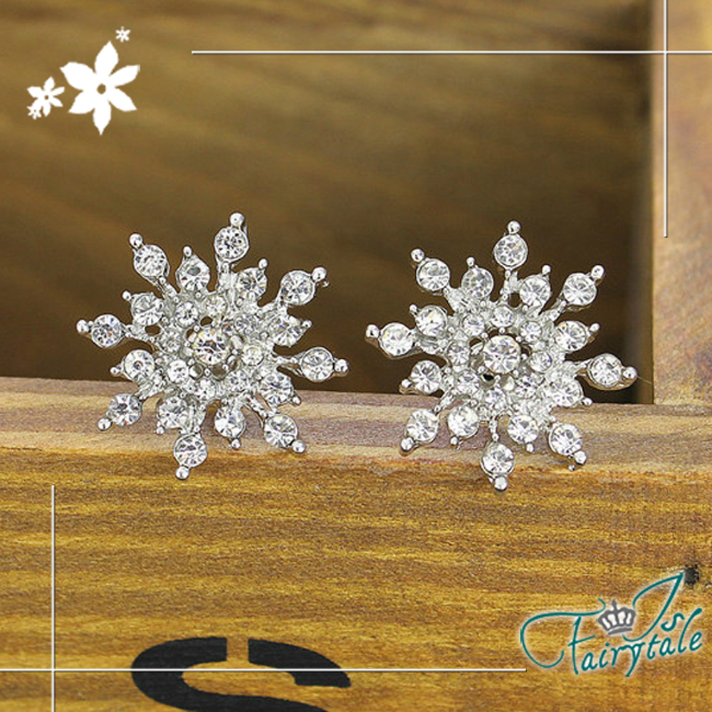 iSFairytale伊飾童話 璀璨冰晶 精緻鑲鑽貼耳式耳環