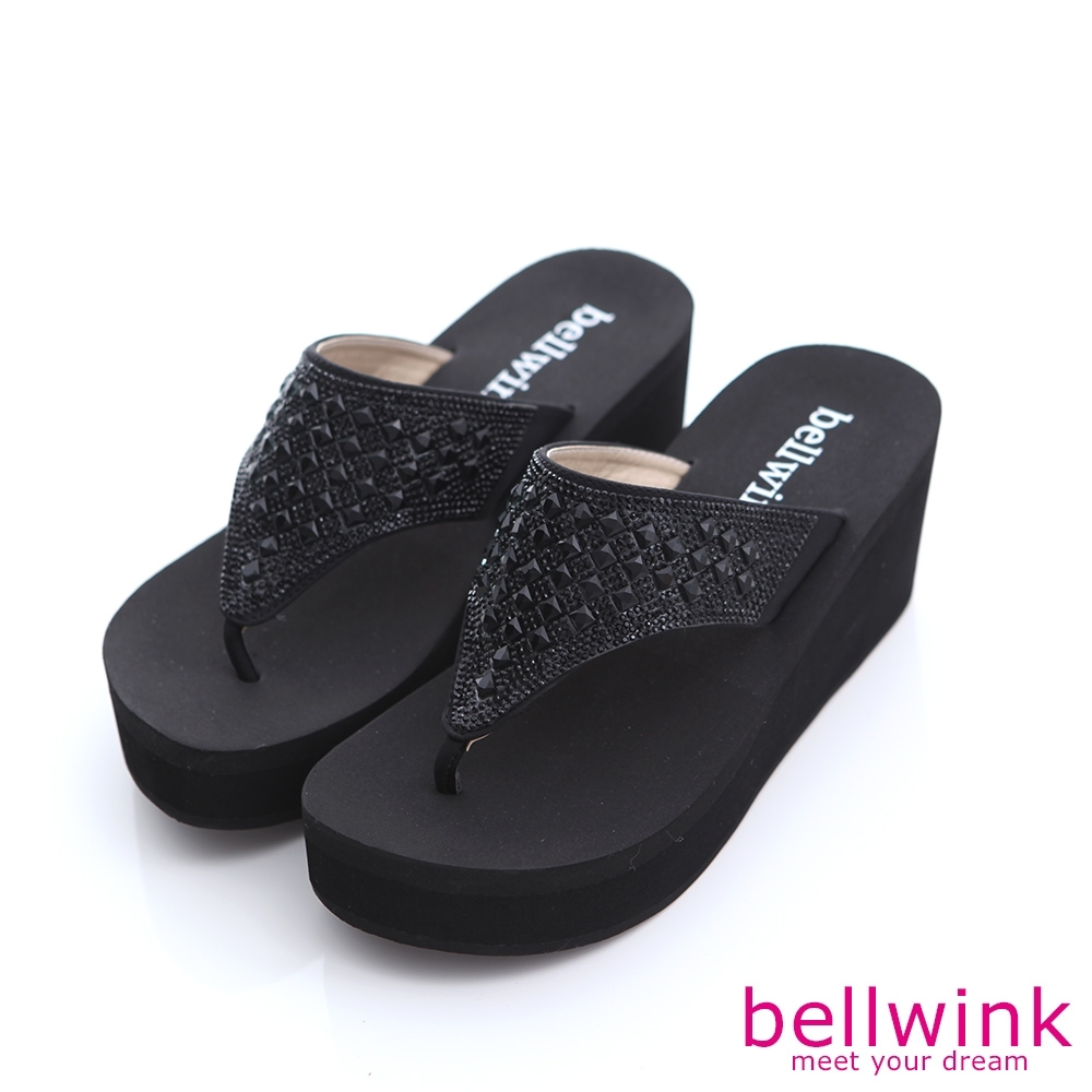 bellwink 鑽面T字夾腳厚底拖鞋-黑色-b9803bk