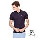 【Lynx Golf】男款經典配色Logo繡字短袖POLO衫-深藍色 product thumbnail 2