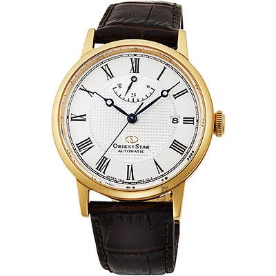 ORIENT STAR 東方之星 CLASSIC 羅馬機械錶-金框x咖啡/38.7mm