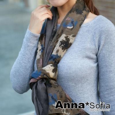 AnnaSofia 古典花繪染 拷克邊韓國棉圍巾披肩(灰褐)