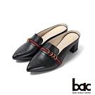 bac愛趣首爾 - 織帶裝飾粗跟穆勒鞋半包鞋-黑