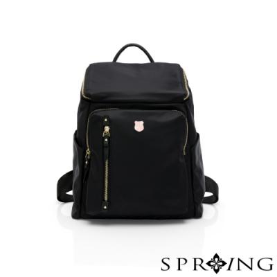 SPRING-未來質感系列掀蓋尼龍後背包-經典黑