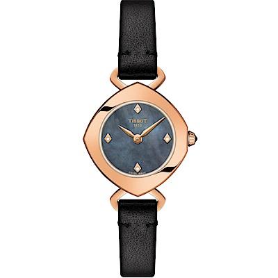 TISSOT天梭 Femini-T 珍珠貝真鑽女錶(T1131093612600)-黑