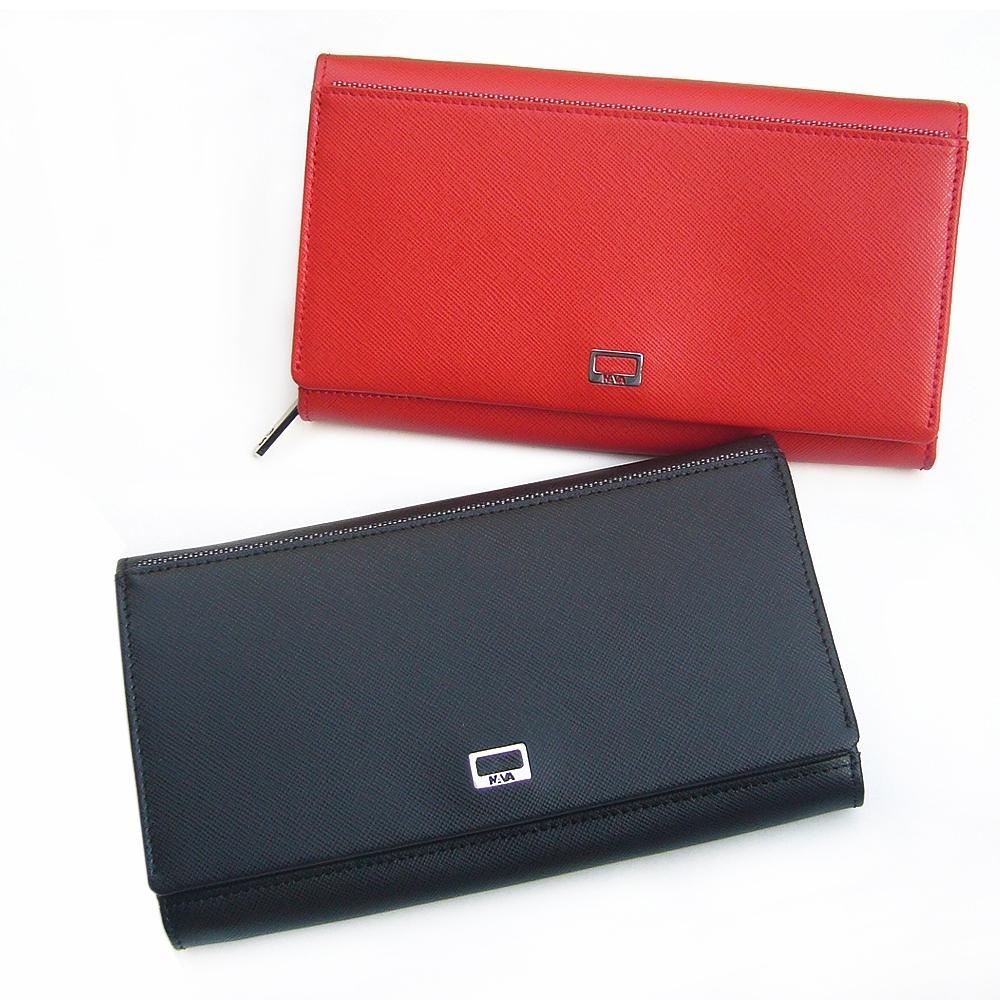 leaper細十字紋真皮大容量多隔層多卡位對折長夾錢包 共2色