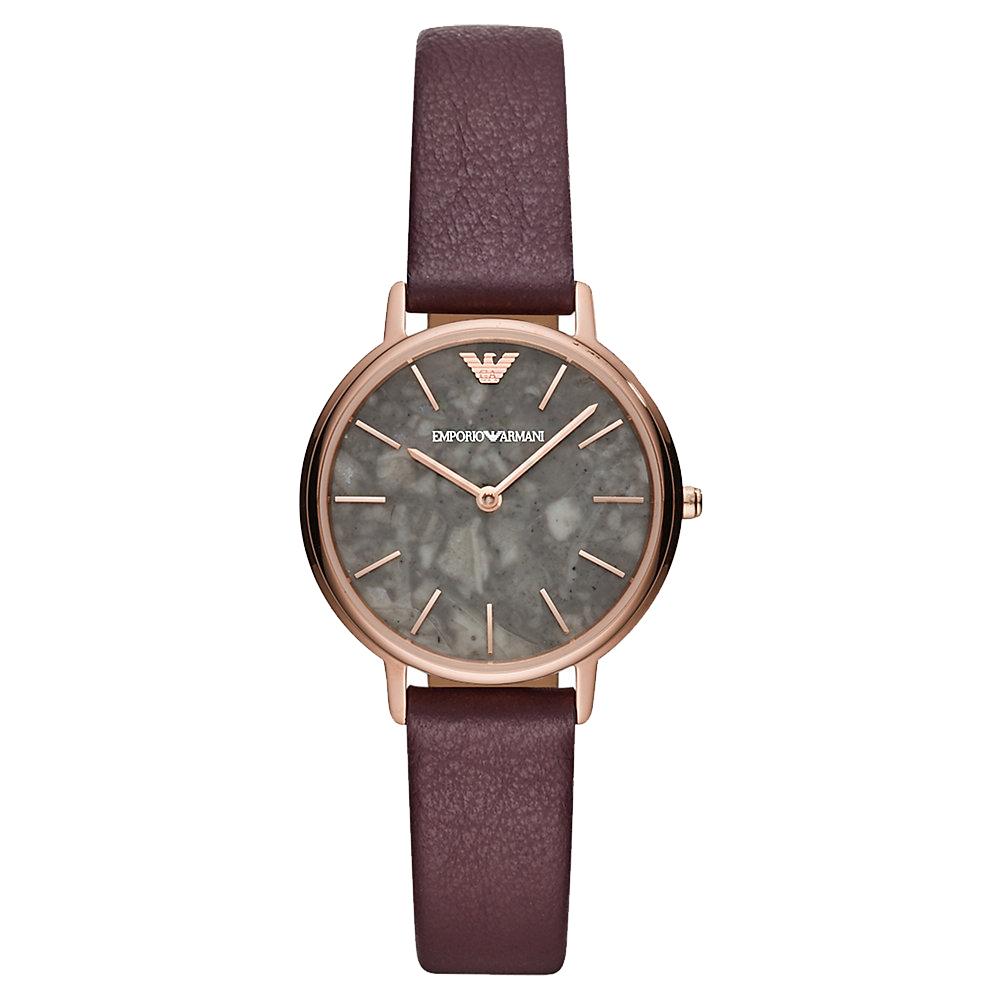 Emporio Armani 大理石紋時尚真皮手錶(AR11172)-灰X咖啡/32mm