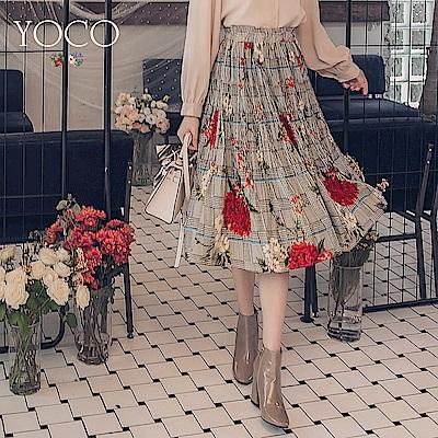 東京著衣-yoco 優雅美人繽紛花朵中長裙-S.M.L(共二色)