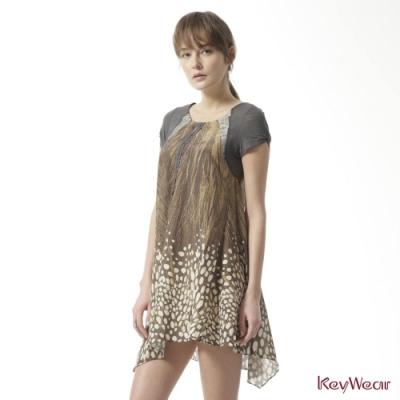 KeyWear奇威名品    大地色系絲棉質感顯瘦短袖洋裝-淺咖啡色