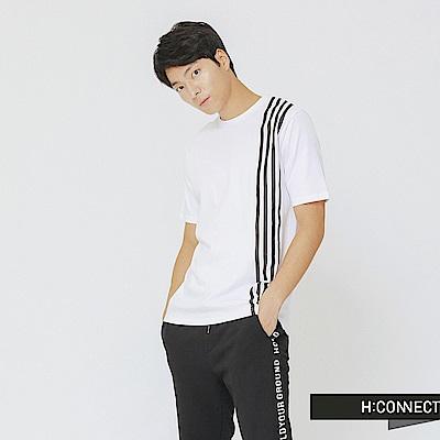 H:CONNECT 韓國品牌 男裝-單邊條紋上衣-白