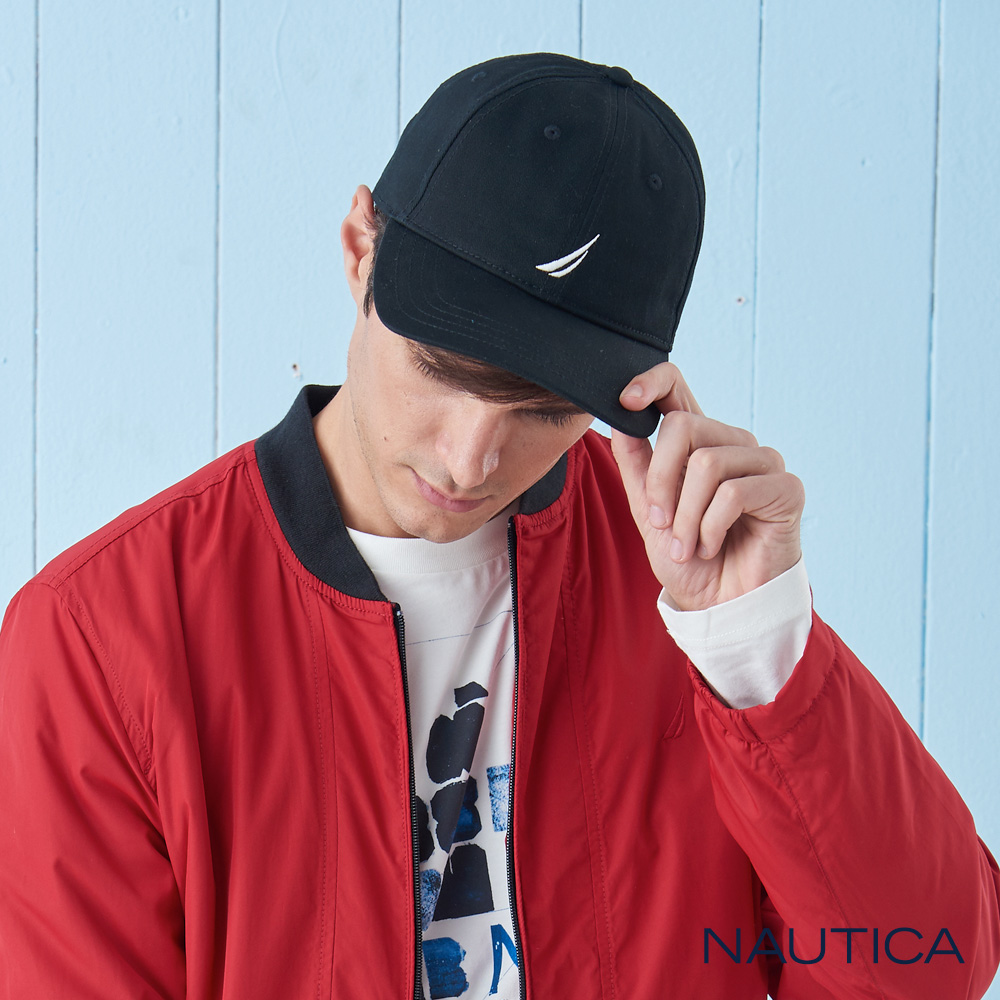Nautica簡約品牌LOGO休閒帽-黑
