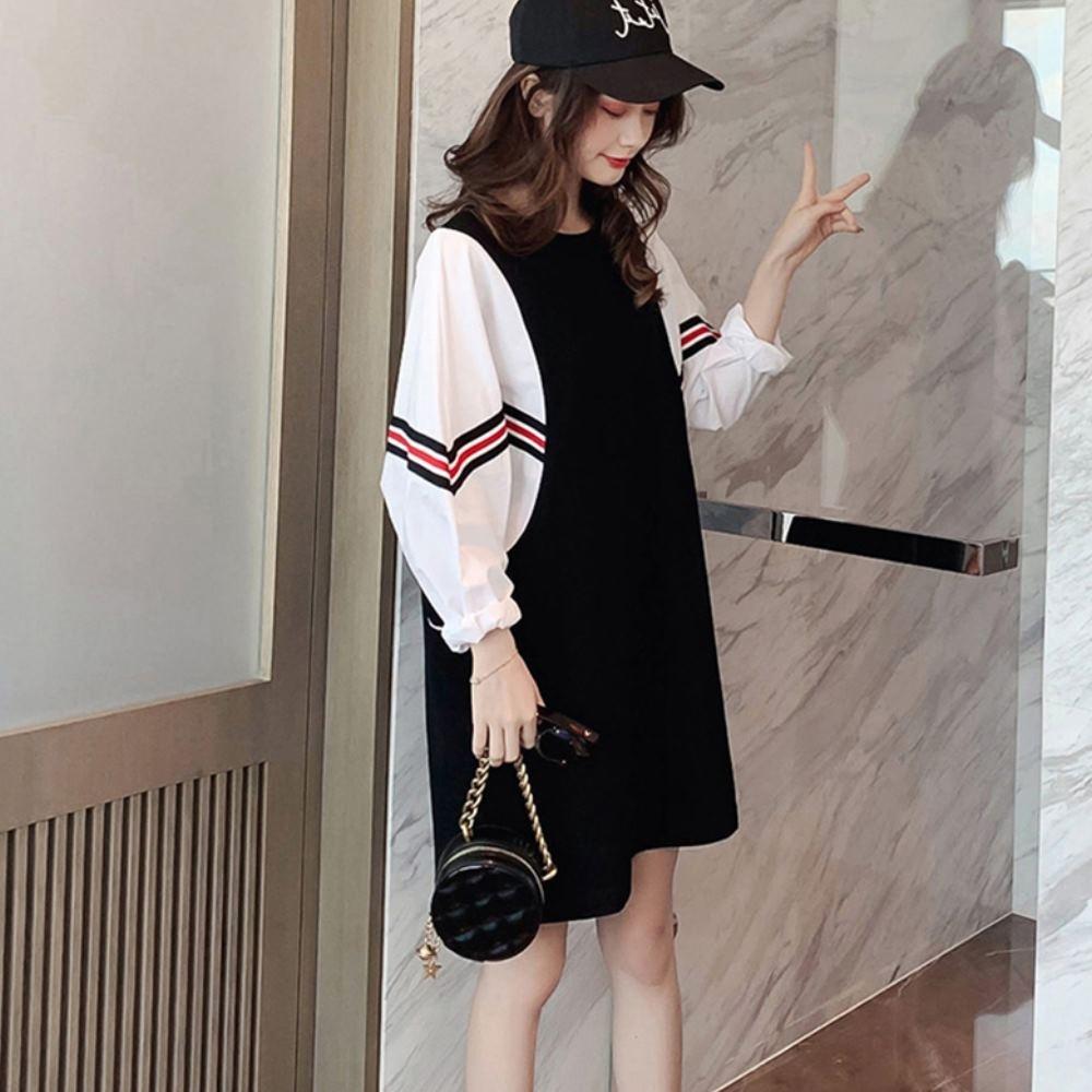 中大尺碼假兩件袖拼接紅黑條紋白色燈籠袖中間黑色洋裝L~4L-Ballet Dolly