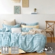 BUTTERFLY-純棉三件式枕套床包組-格子鋪-藍(雙人) product thumbnail 1