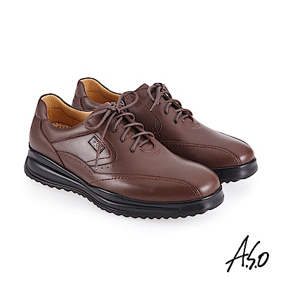A.S.O機能休閒 萬步健康鞋 內腰拉鍊設計款商務休閒鞋-咖啡