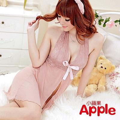 APPLE 粉紅蕾絲薄紗睡衣 AQ042