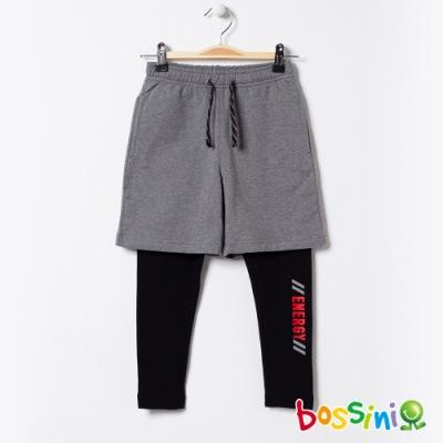 bossini男童-假兩件運動長褲灰黑