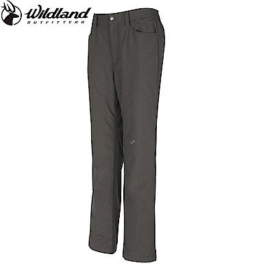 【Wildland 荒野】女防風防潑水保暖長褲深卡其