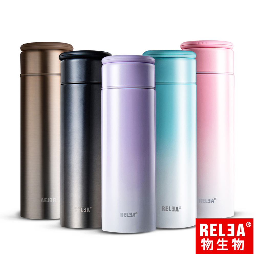 RELEA物生物 LUCK溫控304不鏽鋼真空保冷保溫瓶380ml(五色)