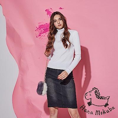 Hana 花木馬 時尚刷色牛仔側抓摺後開岔顯瘦膝上鉛筆造型直裙-黑(共2色)