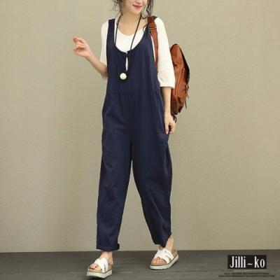 JILLI-KO 簡約休閒寬版吊帶連身褲- 深藍/深紅