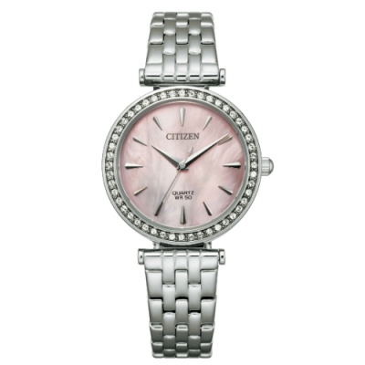 CITIZEN 星辰 LADYS 花漾優雅時尚腕錶-粉面/銀30MM(ER0210-55Y)