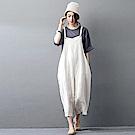高品質亞麻背帶褲文藝寬管褲XK608-設計所在