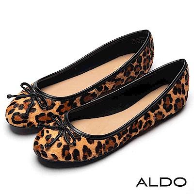 ALDO 原色真皮豹紋立體蝴蝶結圓頭低跟娃娃鞋~摩登豹紋