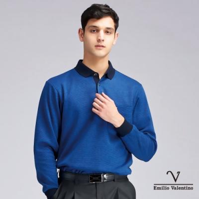 Emilio Valentino范倫鐵諾簡約風格細條橫紋POLO衫_寶藍(21-9V2851)