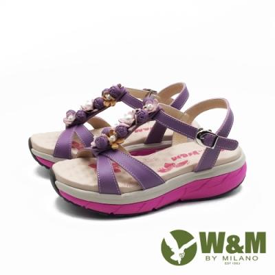 W&M 珠花交叉帶厚底氣墊涼鞋 女鞋-紫