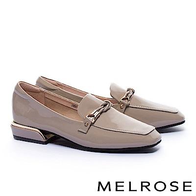 低跟鞋 MELROSE 經典知性交織條細帶全真皮樂福低跟鞋-灰
