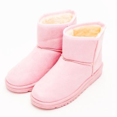 River&Moon雪靴-韓版繽紛細絨內撲毛短雪靴 粉