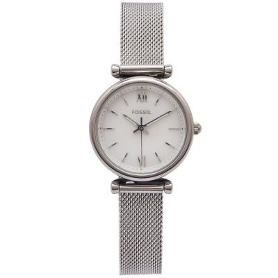 FOSSIL 珍珠貝錶盤的米蘭帶錶帶手錶(ES4432)-珍珠貝面X銀色/28mm