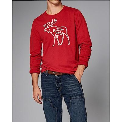 麋鹿 AF A&F 經典刺繡大麋鹿長袖T恤-紅色