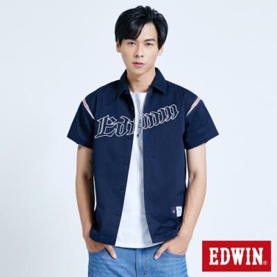 EDWIN 復古運動 繡花短袖襯衫-男-黑藍色