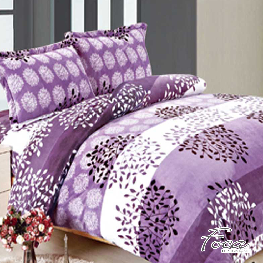FOCA紫語煙花   單人-極緻保暖法萊絨三件式兩用毯被套床包組