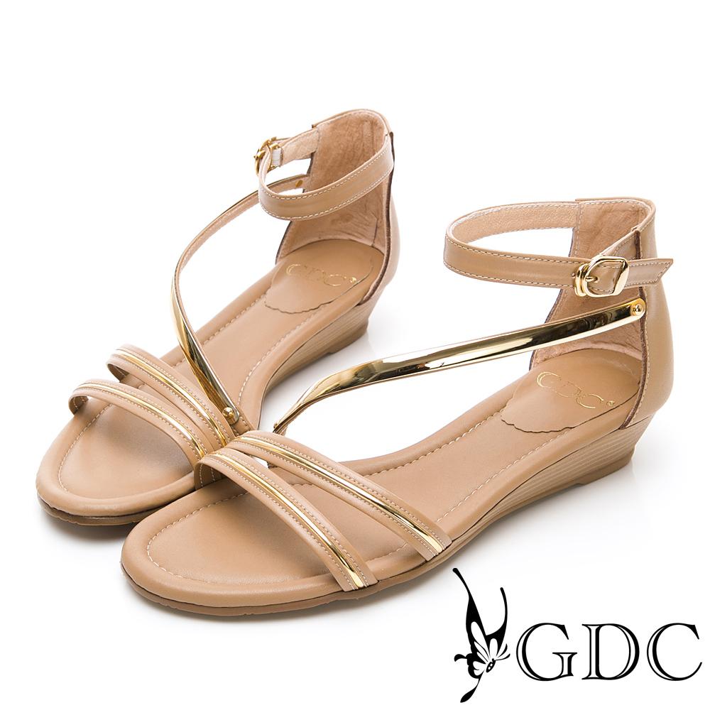 GDC-真皮交叉羅馬春夏女神款後包楔型底涼鞋-卡其色