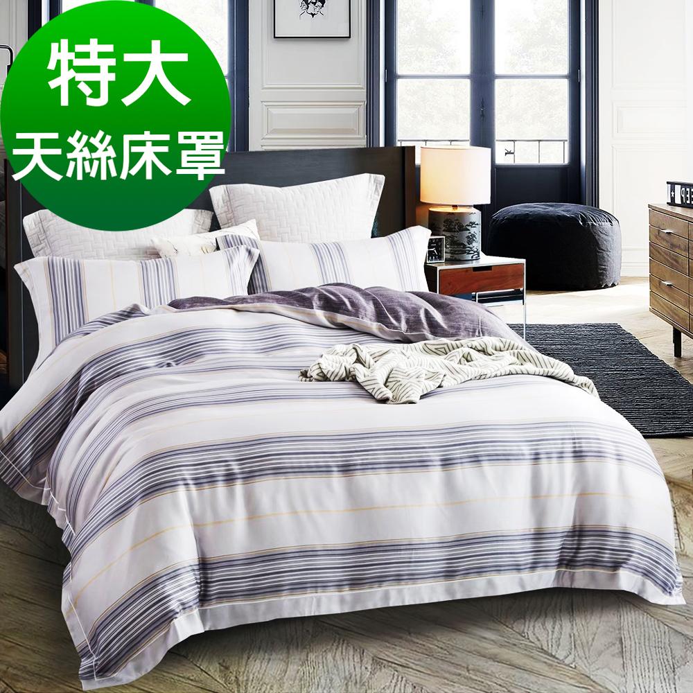 Saint Rose頂級精緻100%天絲床罩八件組(包覆高度35CM)-伯格 特大