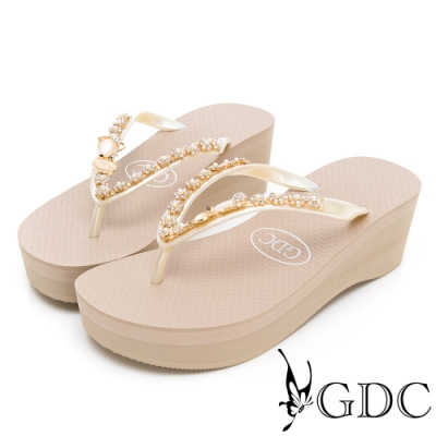 GDC-夏日璀璨甜美貓型水鑽夾腳拖鞋-米色