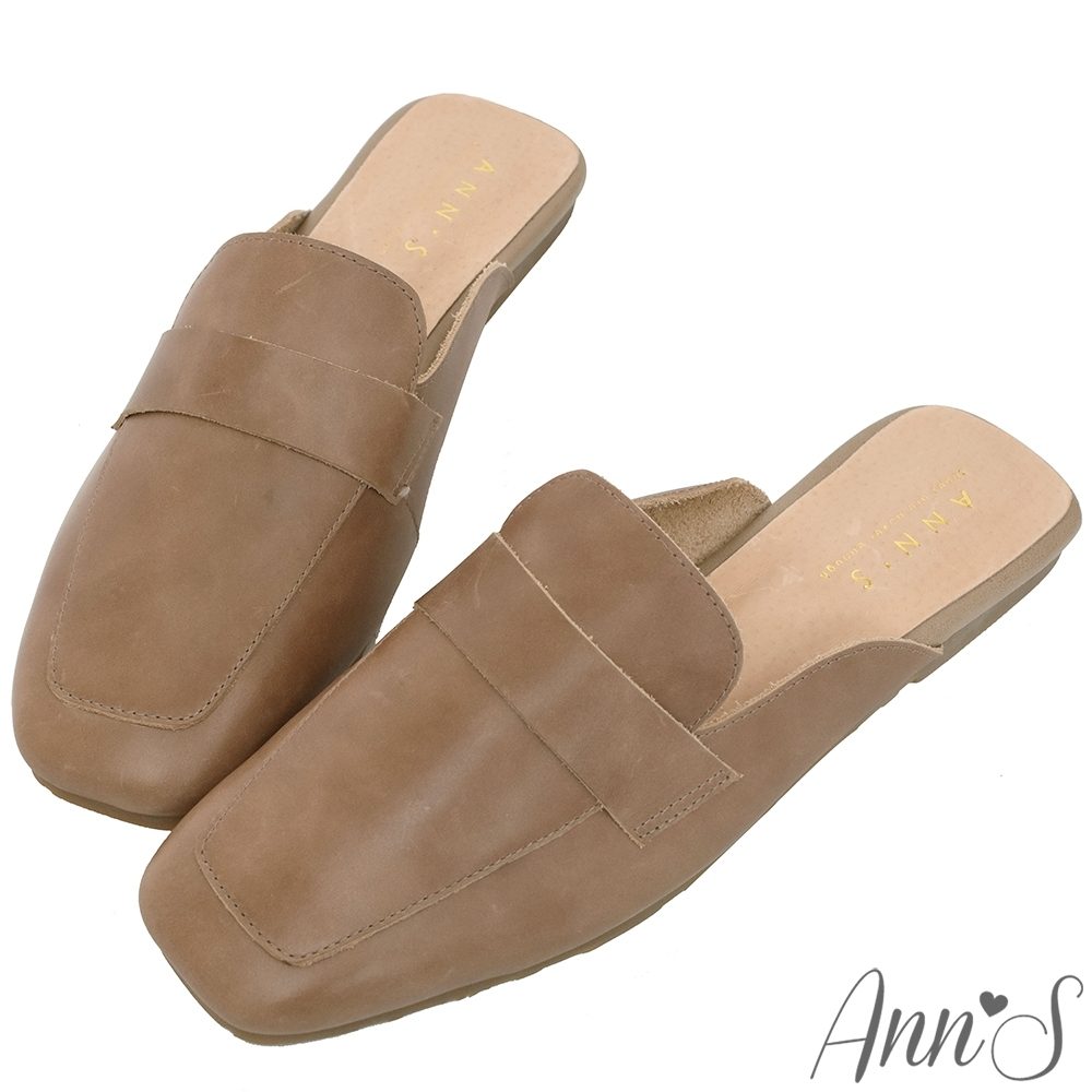Ann'S軟綿舒適-復古打蠟真皮牛皮方頭穆勒平底拖鞋-咖
