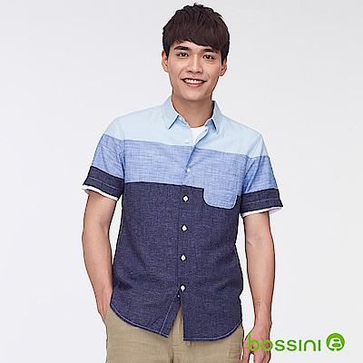 bossini男裝-棉麻條紋短袖襯衫02淡藍