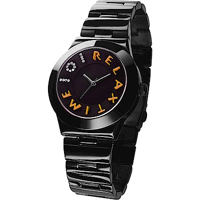 RELAX TIME 101獨家設計品牌手錶-IP黑x橘時標/34mm