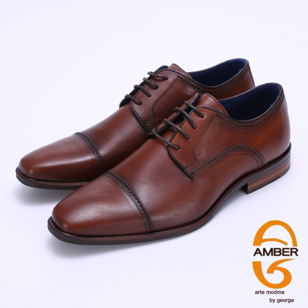 Amber 拼接雕花綁帶紳士鞋皮鞋-棕色