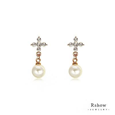 Rshow 閃爍臻愛珍珠耳環玫瑰金