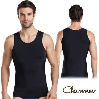 Charmen 360度加壓收腹高彈背心 男性塑身衣 黑色