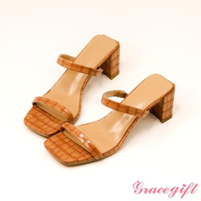 Grace gift-一字雙細帶高跟涼拖鞋 咖壓紋