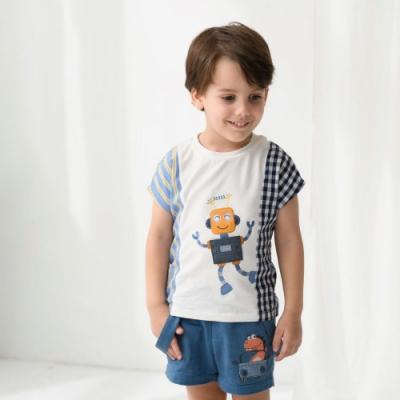 PIPPY小恐龍兜風刺繡短褲-藍