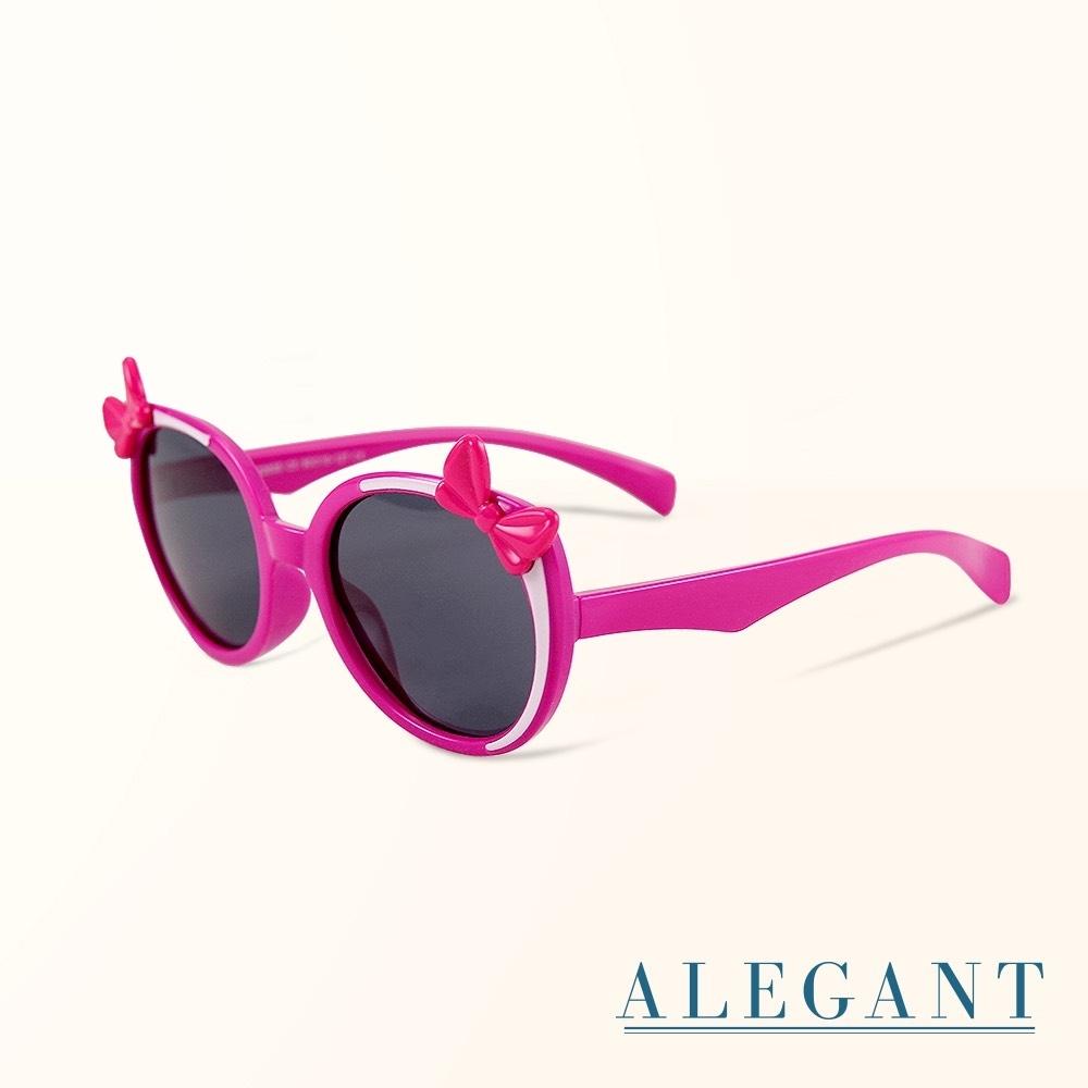 ALEGANT樂園桃蝴蝶結純白飾邊點綴兒童專用輕量偏光墨鏡│UV400貓眼太陽眼鏡