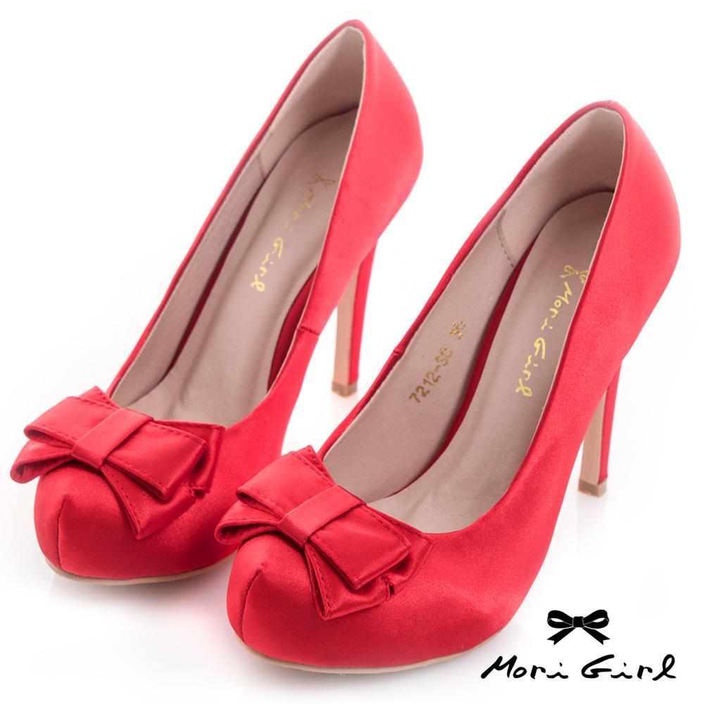 Mori girl質感光澤緞面蝴蝶結高跟婚鞋 紅